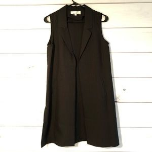 Sleeveless Open-Front Longline Collared Vest